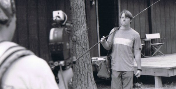 Marcus Lomas and Carson Reaves get ready to film a steadicam shot on the set of The Land