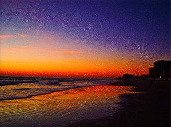 New Art Titled: Daytona Beach Shores From East to West on Beach II. Photo art abstract edit of photograph taken just before the sun comes up over the Atlantic Avenue on the Beach in Daytona Beach Shores.