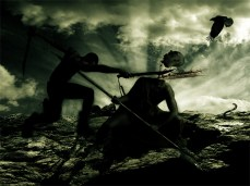 New Art Release Titled: Death Match warrior silhouette. Warriors fighting to the death...