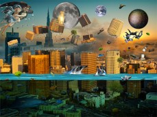 New Art Release Titled: Gravity Confusion City Under Siege. City being ripped apart by gravity wind and water