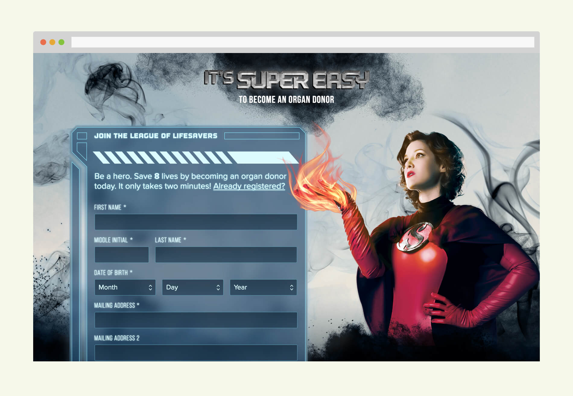 Home page consist of a dramatic shot of one of the heroes accompanied by a web form styled to look like futuristic UI