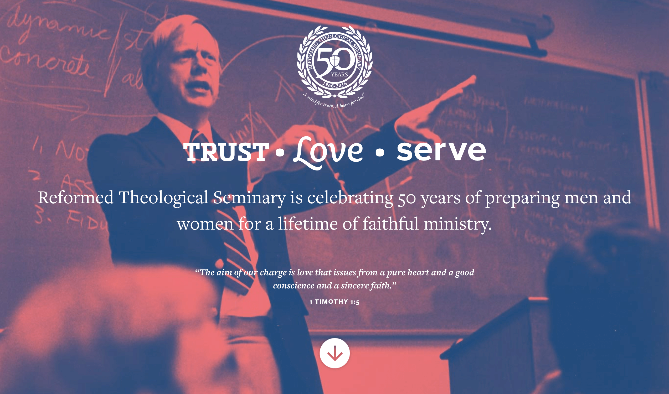 50th microsite intro screen - Trust, Love, Serve overlayed atop an image of a professor