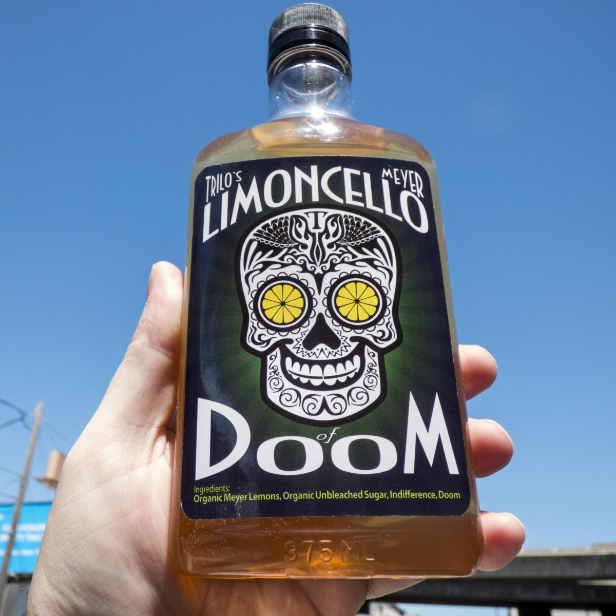 Trilo's Limoncello Of Doom  This delightful and decadent lemon liqueur isn't difficult to make, but Trilo's Limoncello Of Doom requires dedication - it's the ultimate slow food recipe!
