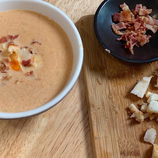 Lobster Bisque with crumbled bacon