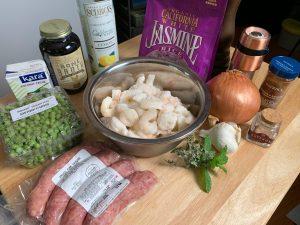 Shrimp Sausage and Saffron Rice