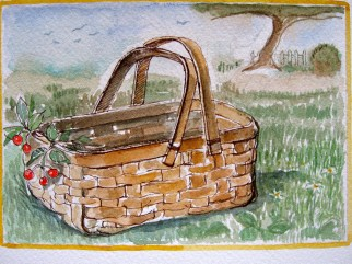 This is the basket so pretty and pert That was filled by the daddy in the polka dot shirt That followed the boy by the name of Bert That climbed the tree That grew the fruit That was picked for the pie That Mama made.