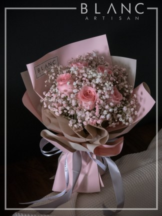 VALENTINE'S DAY PINK ROSE & PINK BABY's BREATH BOUQUET