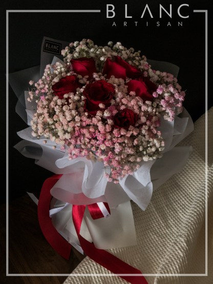 SHIBUYA – VALENTINE'S DAY RED ROSE & PINK BABY'S BREATH BOUQUET