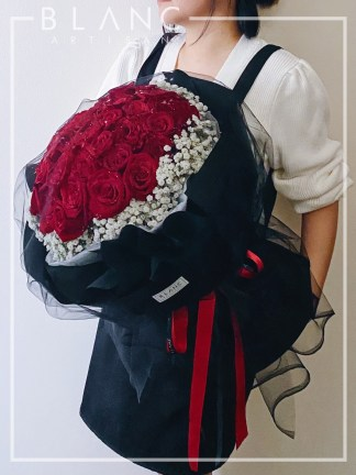 RED ROSES BABY'S BREATH PROPOSAL BOUQUET