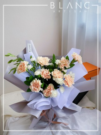 💐 LEON – MOTHER'S DAY PEACH CARNATION BOUQUET