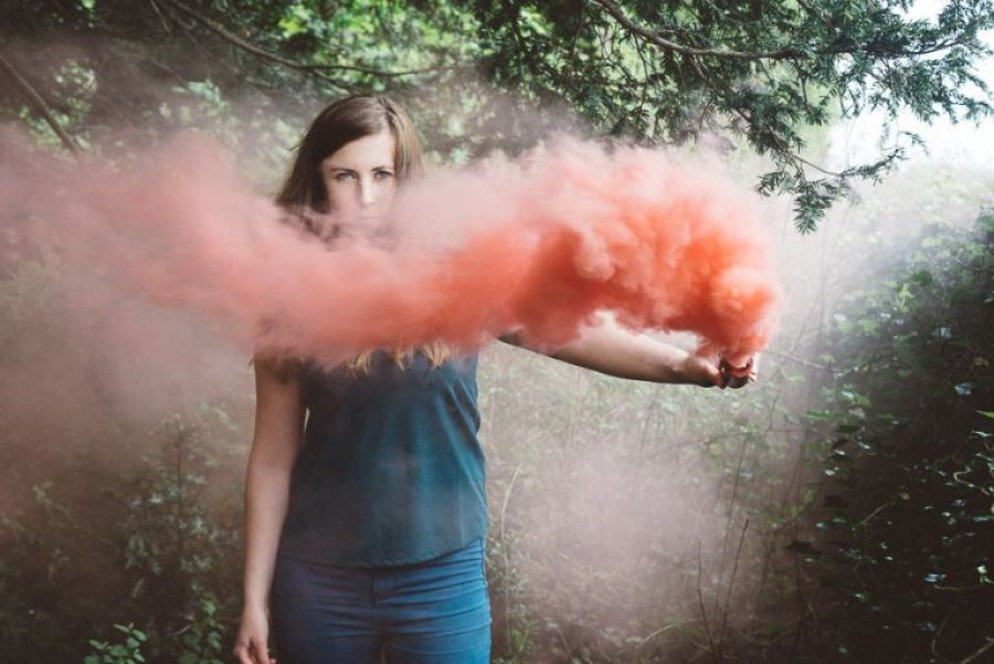 laura portrait photography on location with smoke grenade