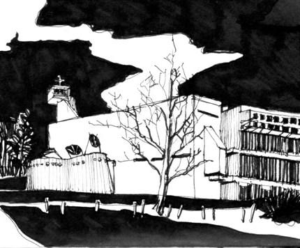 blandine galtier, dessin, encre, couvent de la tourette, le corbusier, architecture