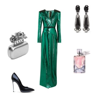 Gown: Roland Mouret, Clutch: Alexander McQueen, Shoes: Casadei, Earrings: Oscar De La Renta, Fragrance: Lancôme