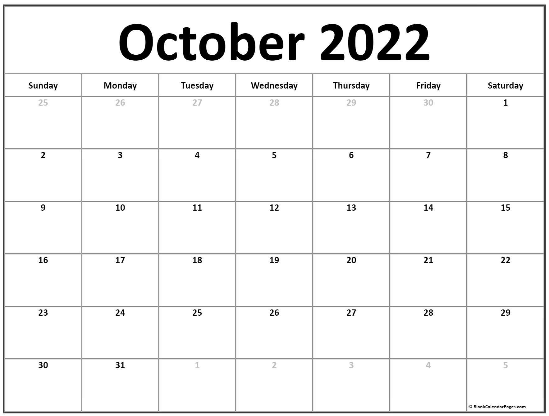 October 2022 calendar | free printable calendar templates