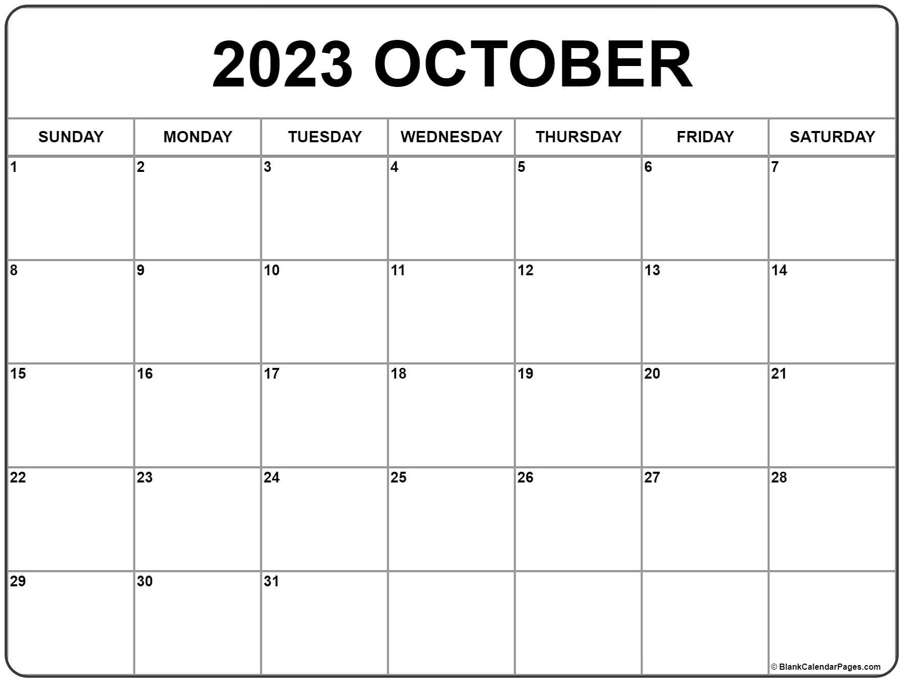 october 2018 calendar free