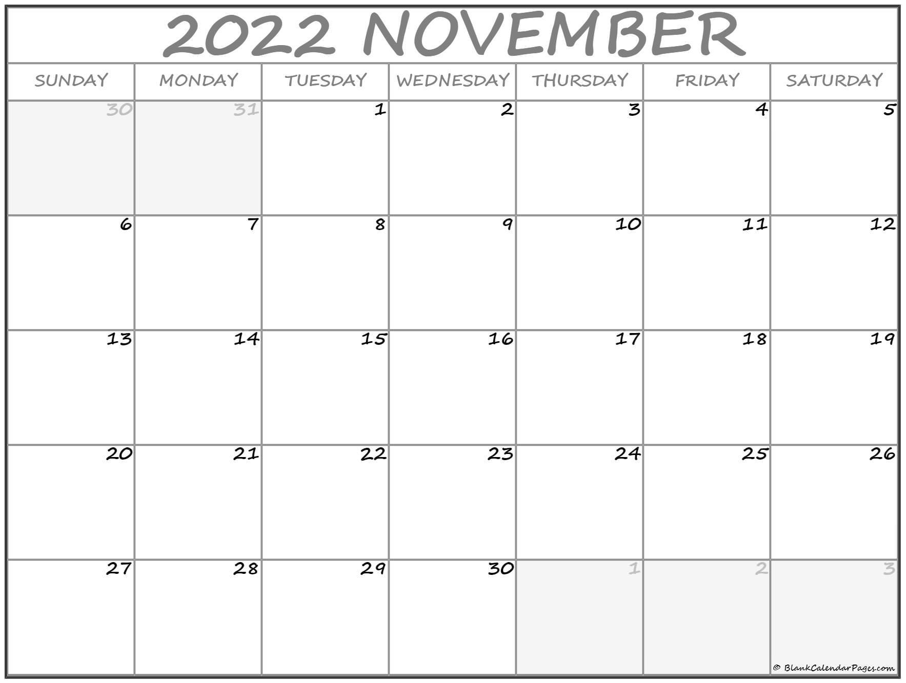 November 2022 calendar   free printable calendar templates