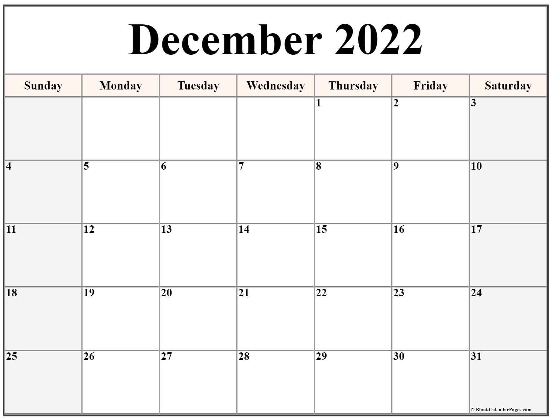 December 2022 calendar | free printable calendar templates