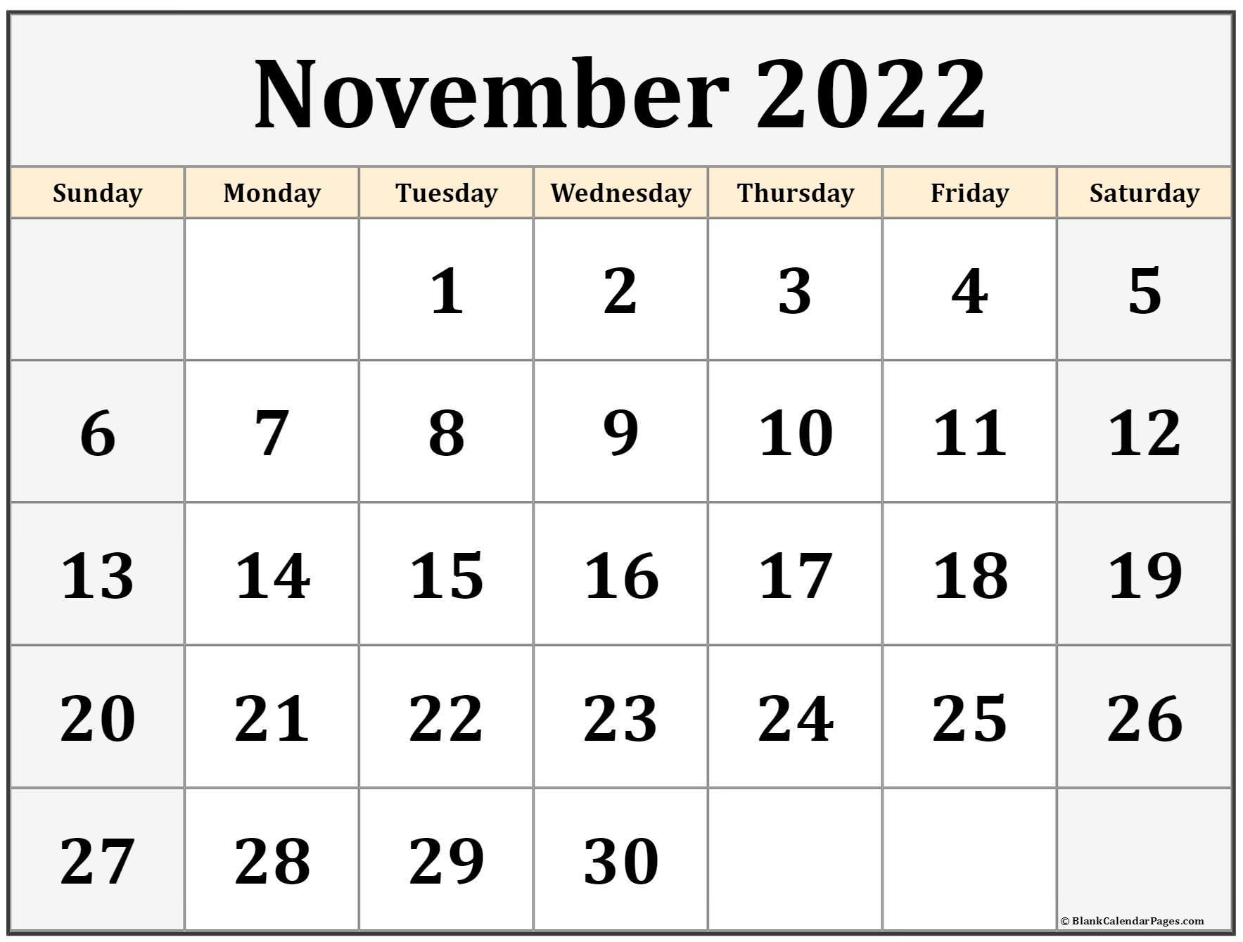 November 2022 calendar | free printable calendar templates