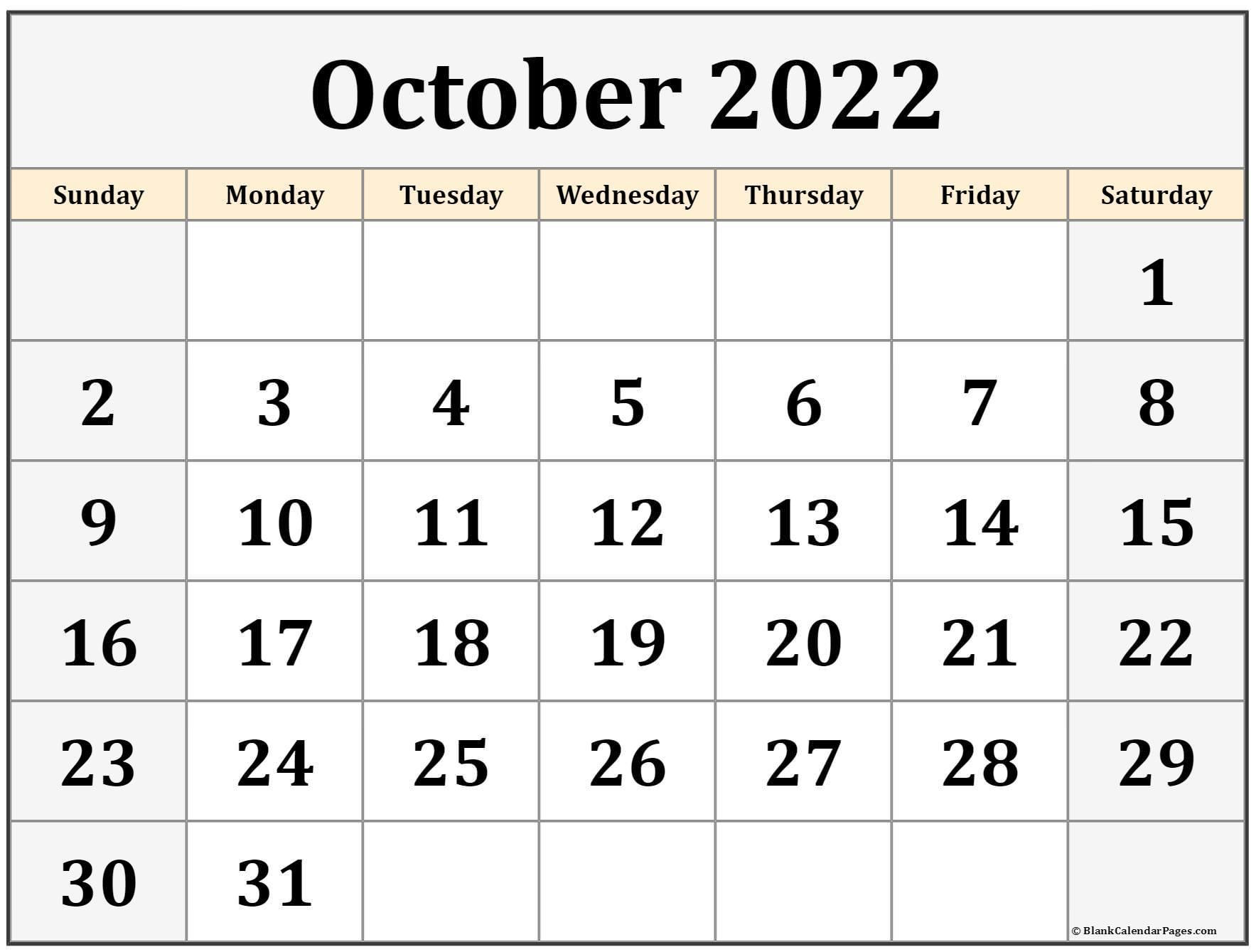 October 2022 calendar   free printable monthly calendars