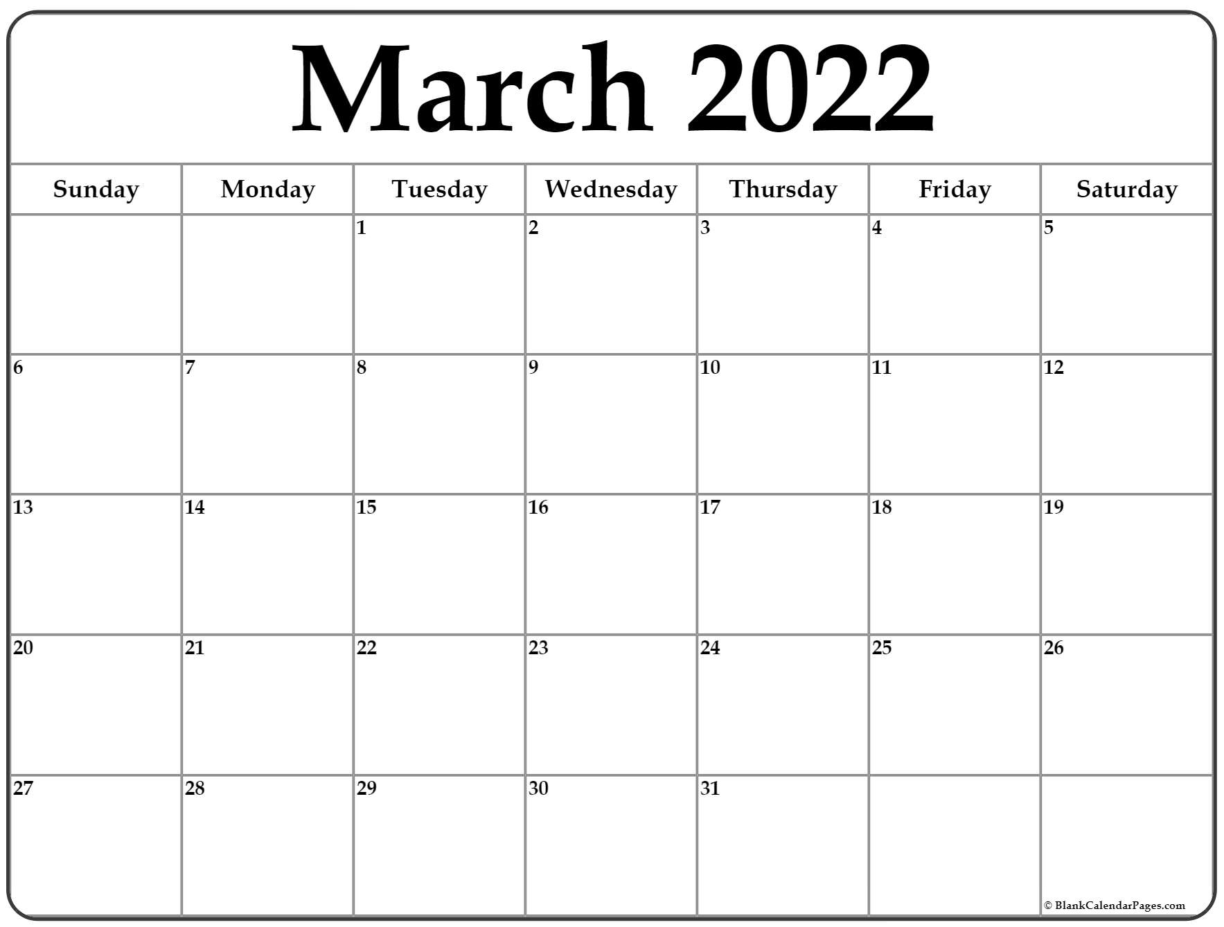 March 2022 calendar | free printable calendar templates