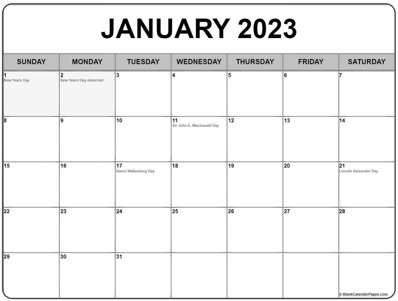 January 2022 calendar with holidays