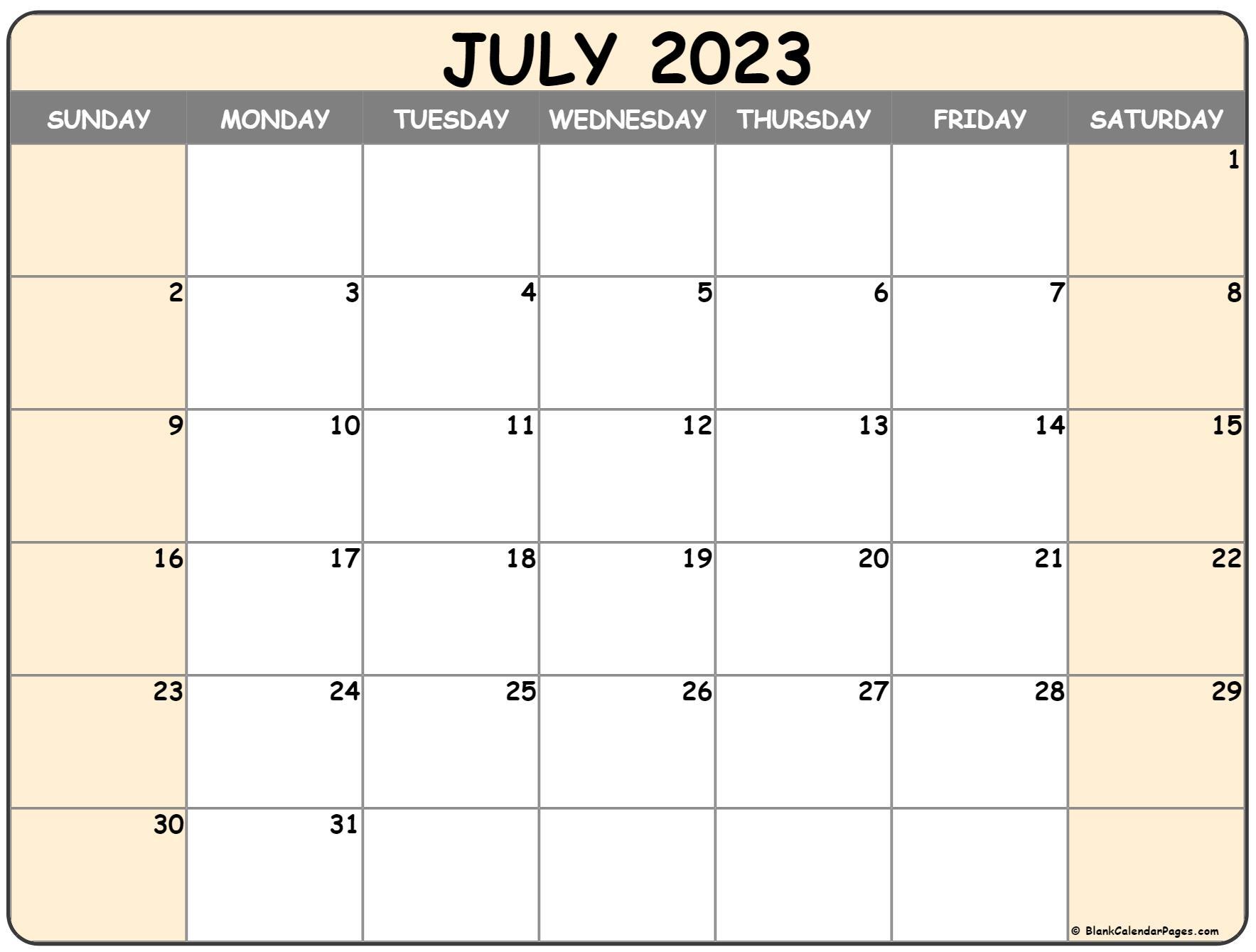 July 2022 calendar   free printable calendar templates