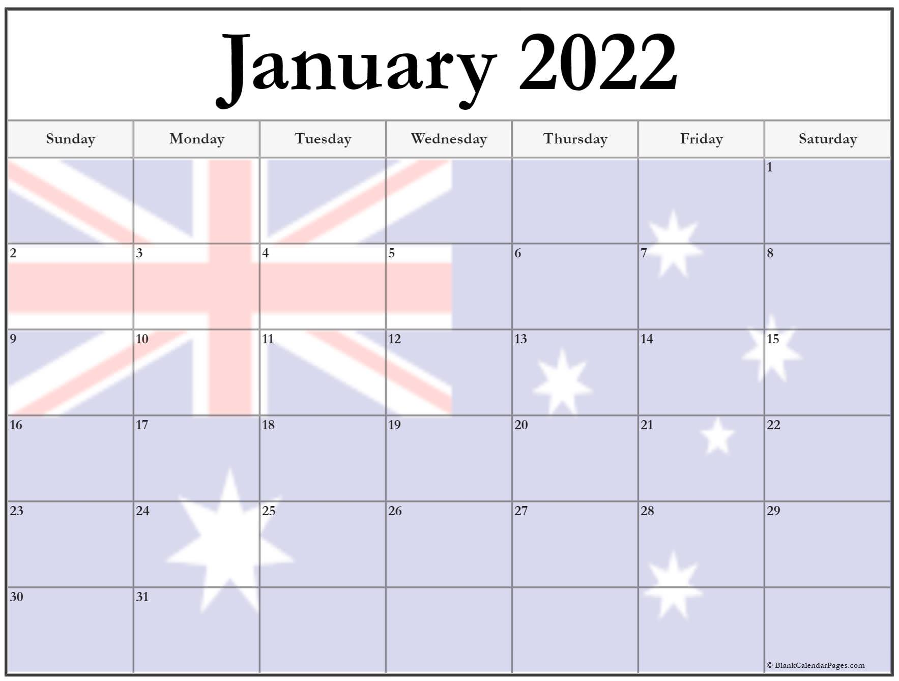 Collection of January 2022 photo calendars with image filters.