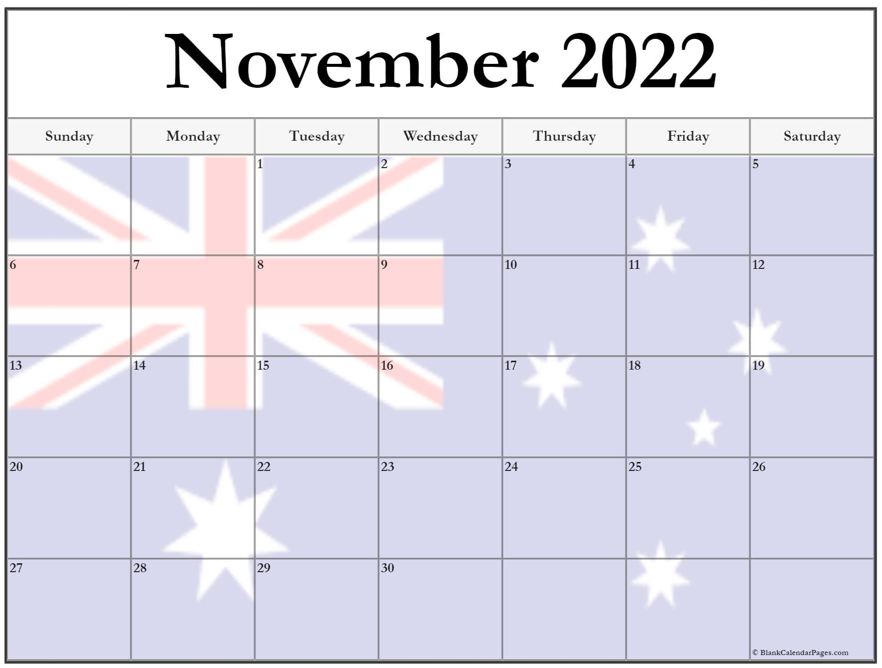 Collection of November 2022 photo calendars with image ...