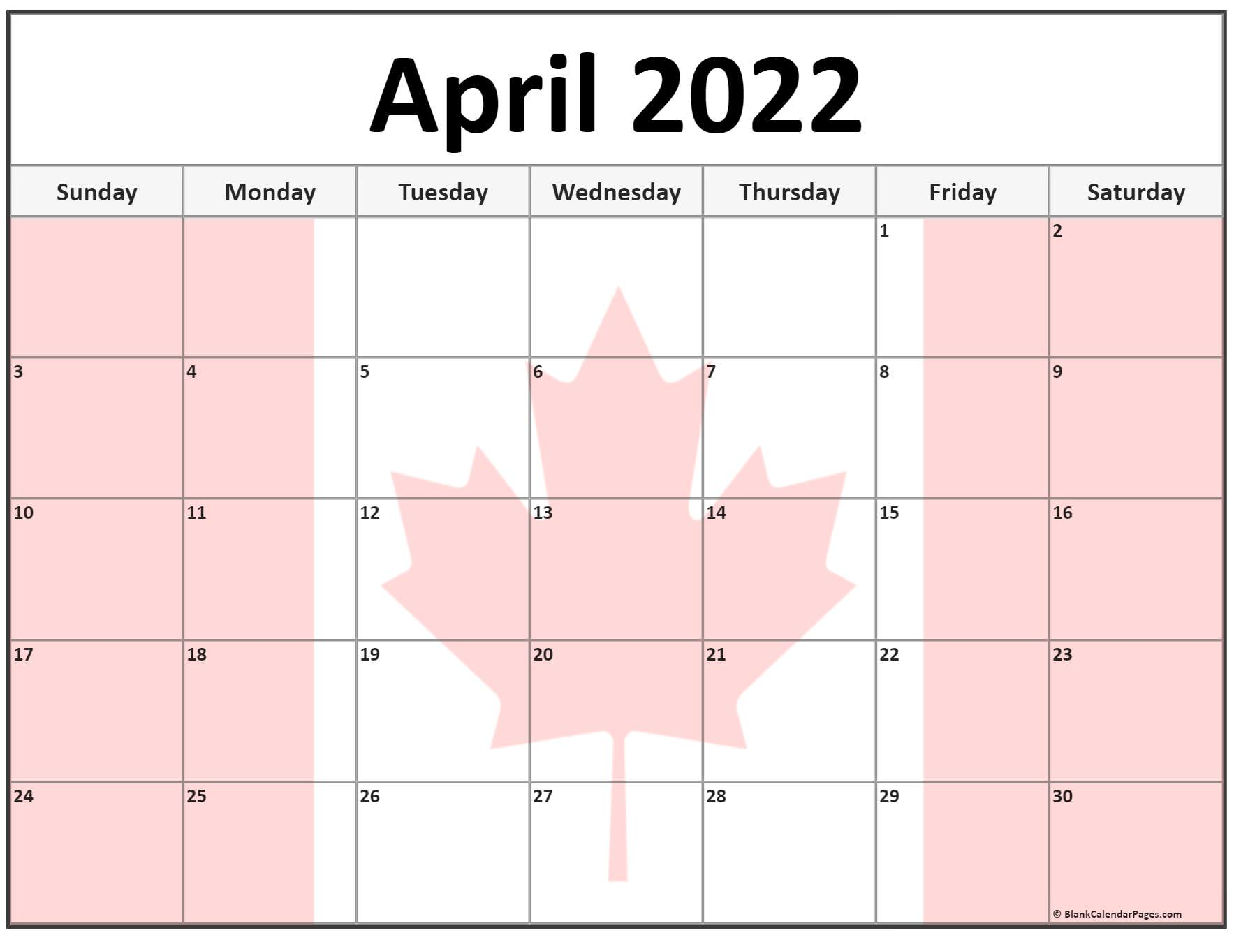 Collection of April 2022 photo calendars with image filters.