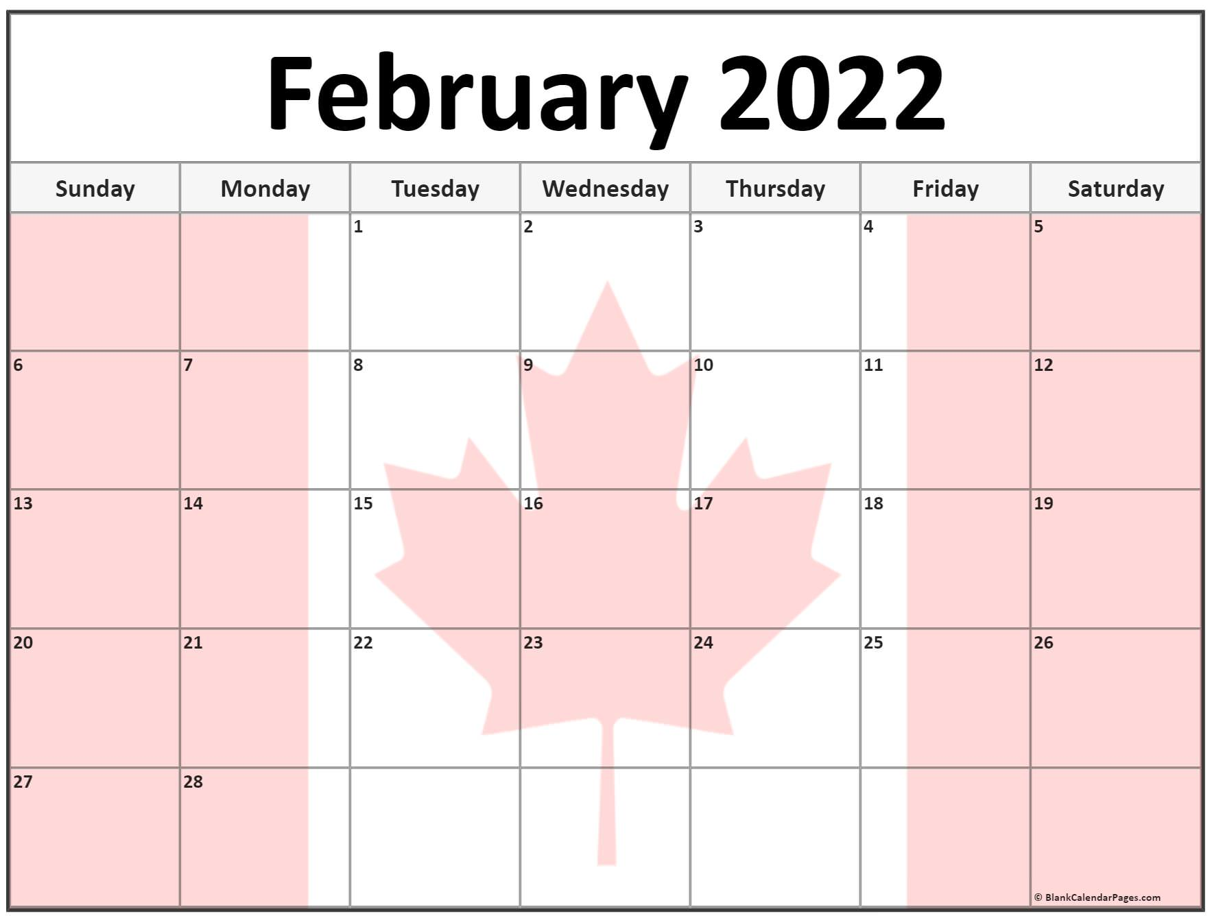 Collection of February 2022 photo calendars with image ...