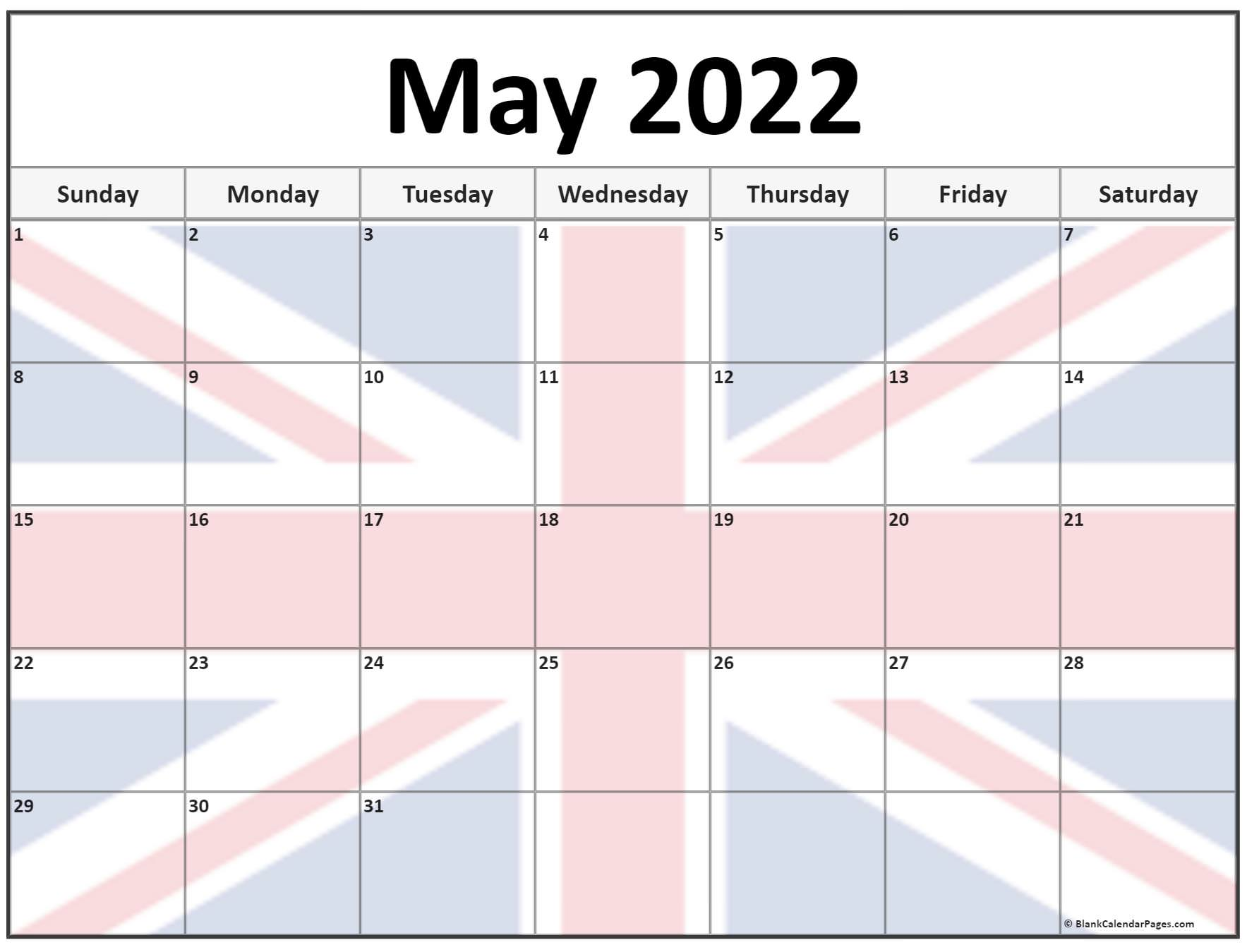 Collection of May 2022 photo calendars with image filters.
