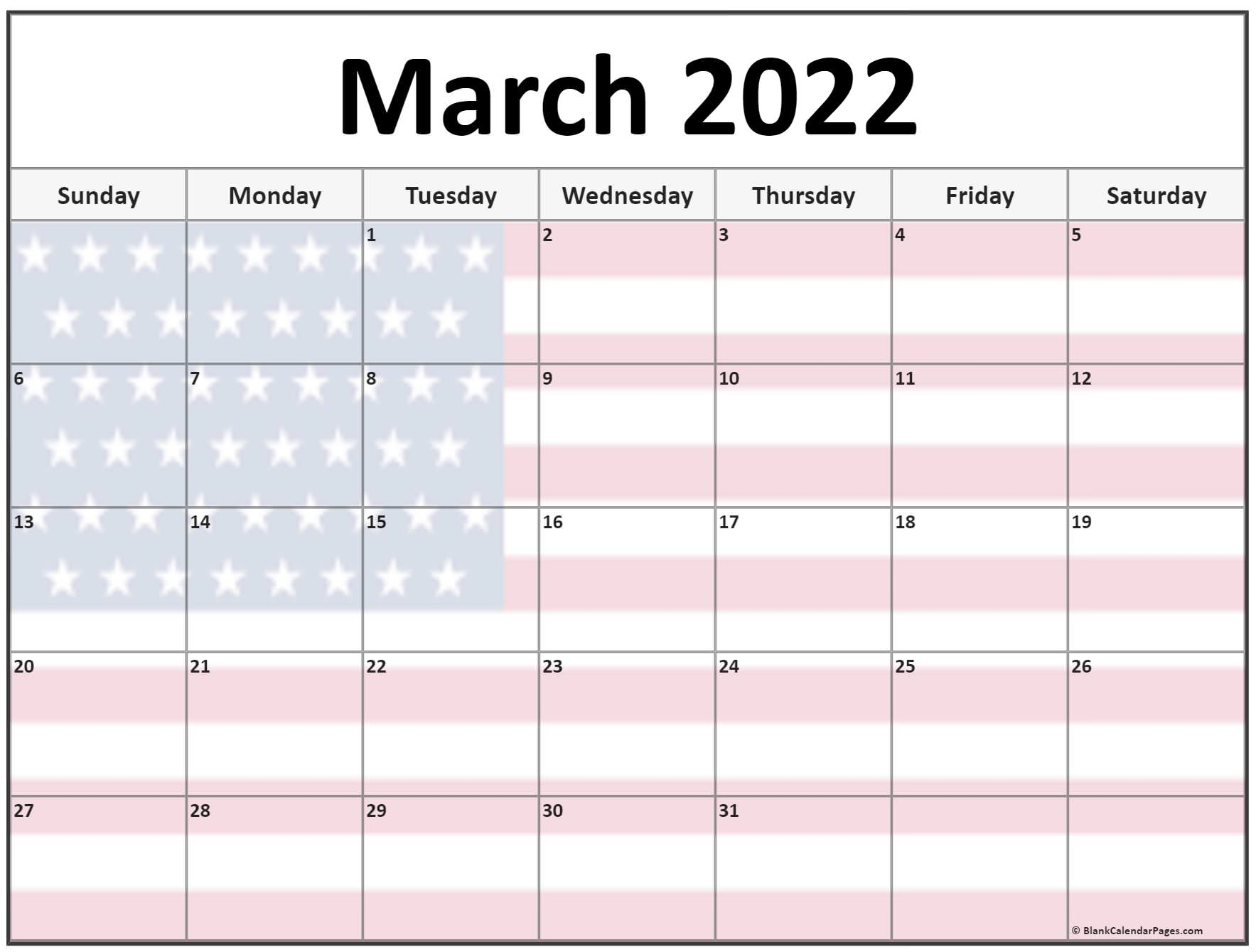 Collection of March 2022 photo calendars with image filters.