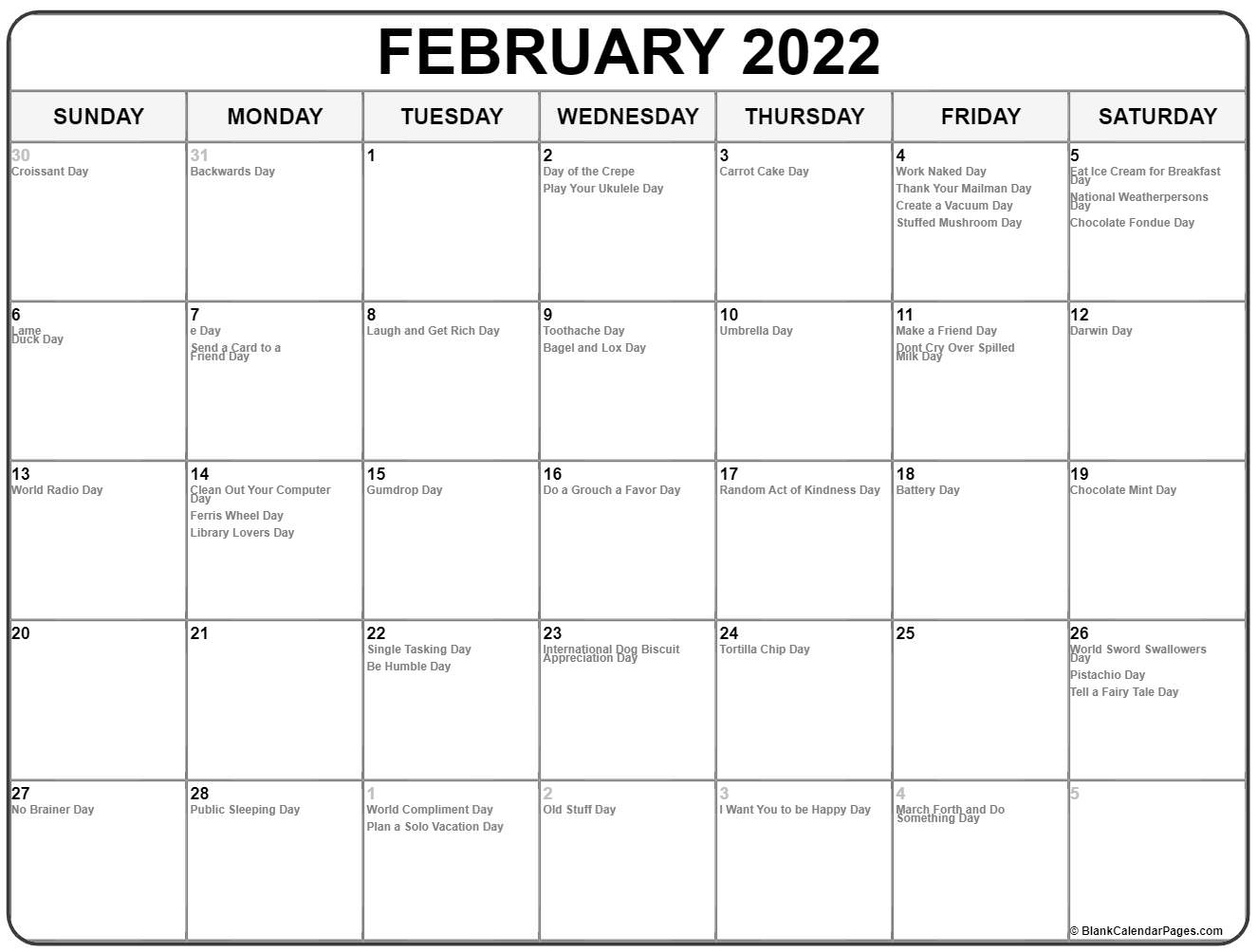 Collection of February 2019 calendars with holidays