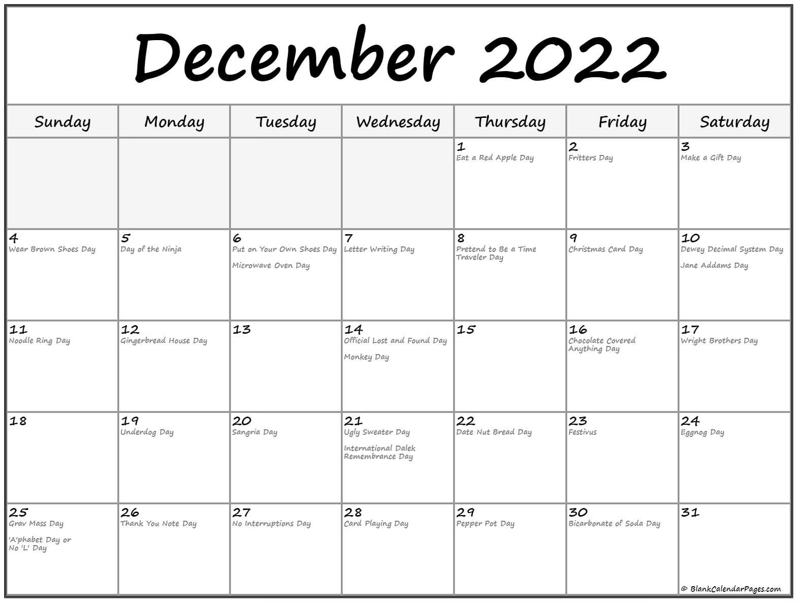 December 2022 calendar with holidays