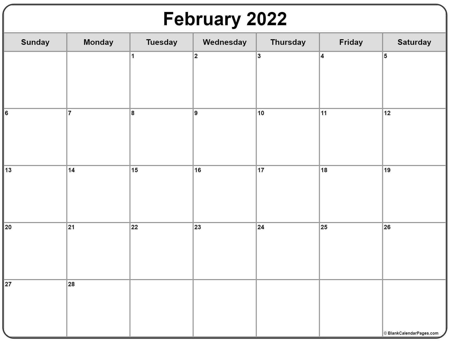 February 2022 calendar | free printable monthly calendars