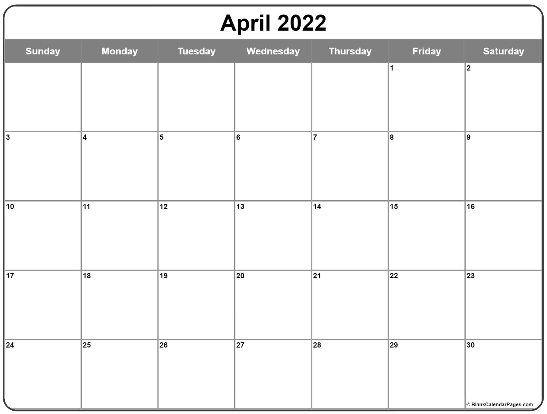 All of these holidays and events are of utmost significance for all the residents of the country. April 2022 calendar   free printable calendar templates