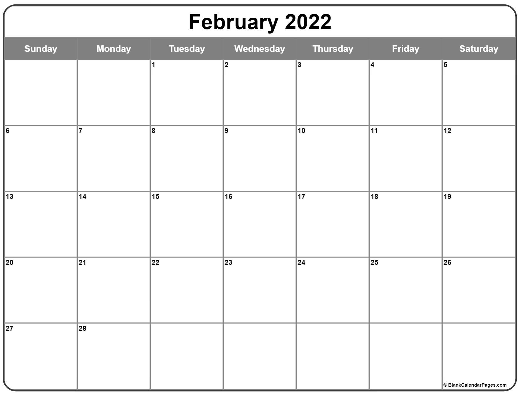 February 2022 calendar   free printable monthly calendars