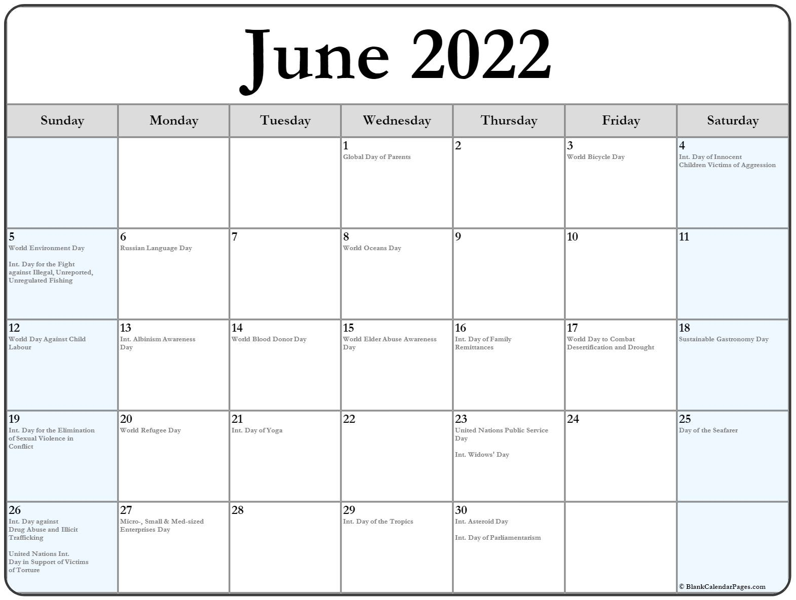 Collection Of June Calendars With Holidays
