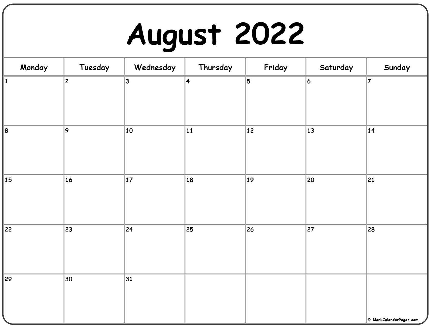 August 2022 Monday Calendar | Monday to Sunday