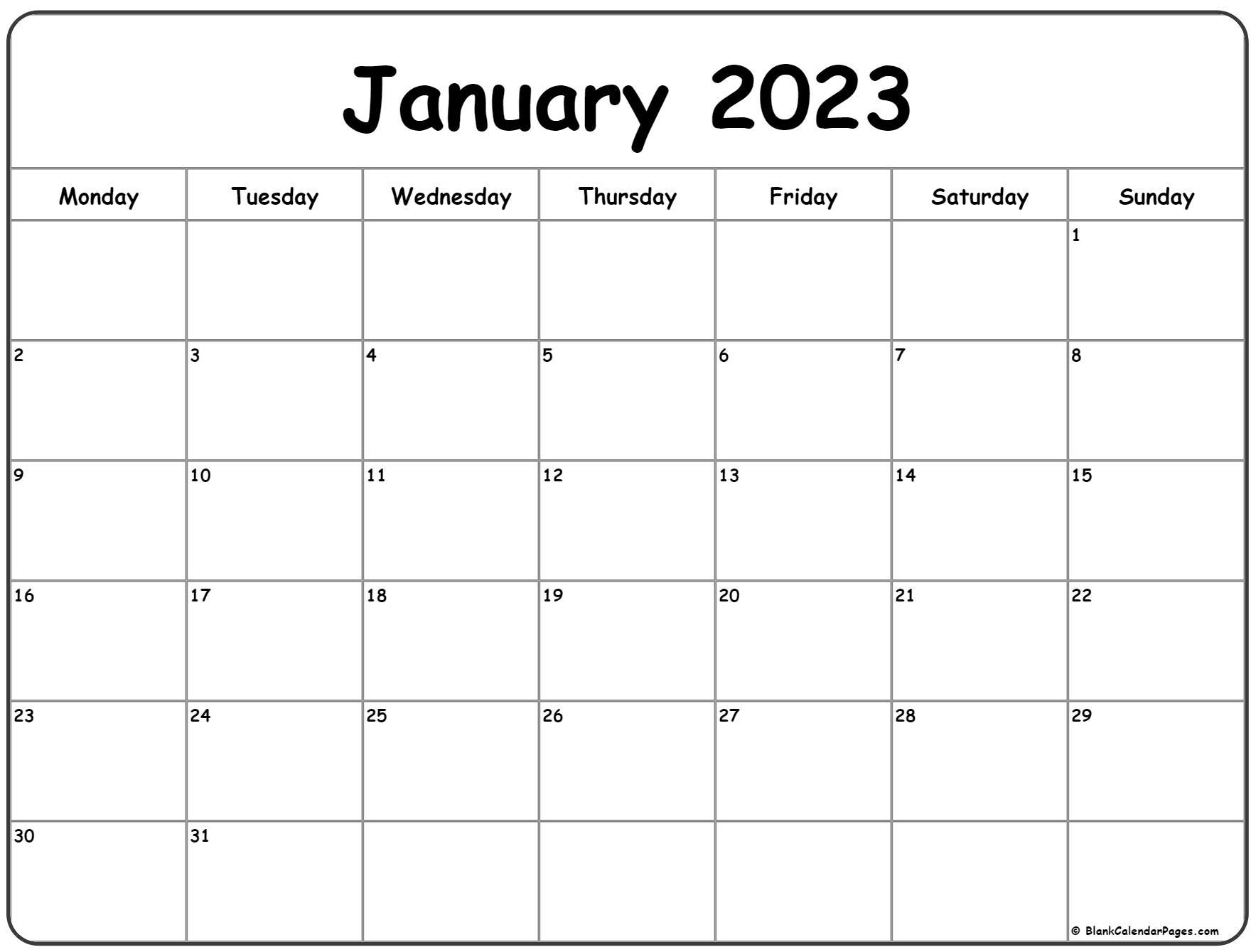 January 2022 Monday Calendar | Monday to Sunday
