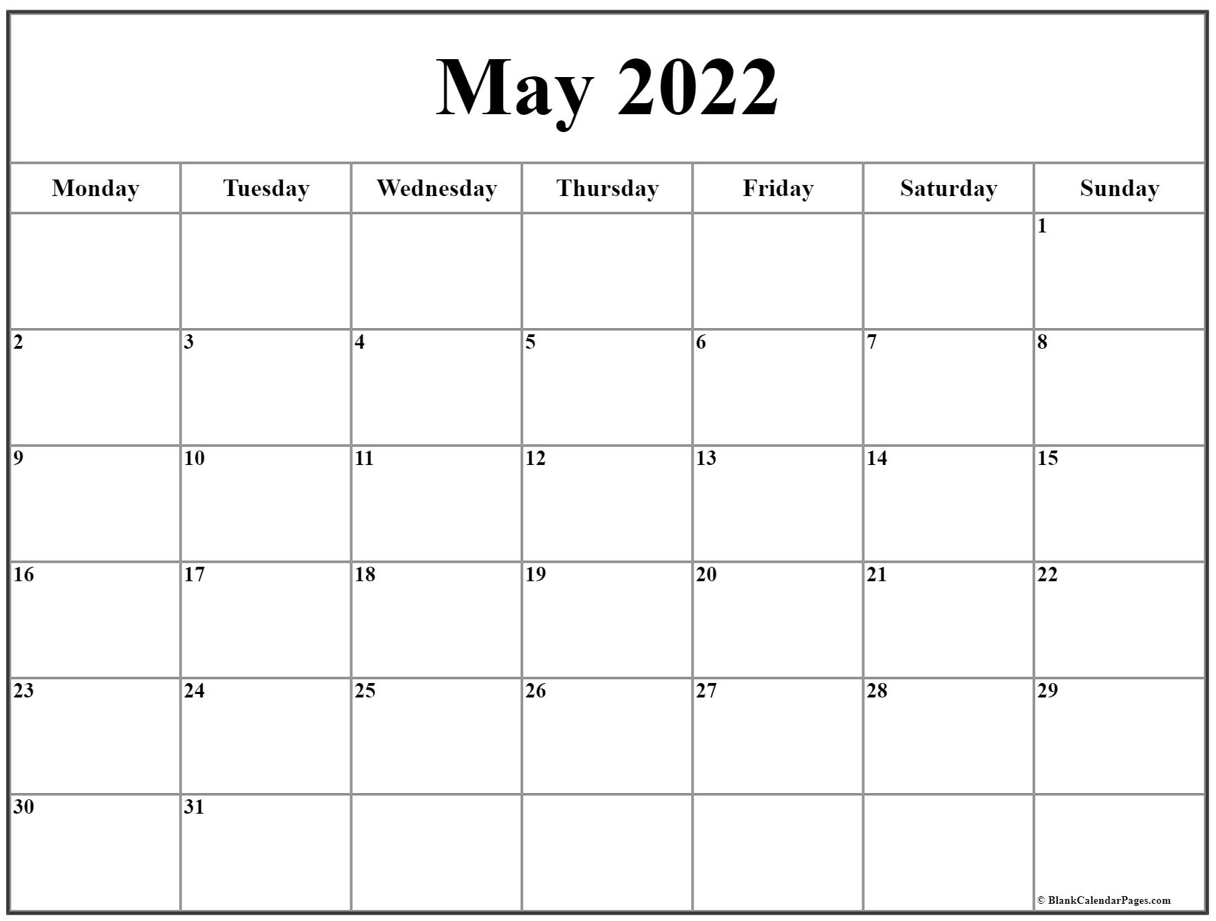 Download or print this free 2022 calendar in pdf, word or excel format. May 2022 Monday Calendar   Monday to Sunday