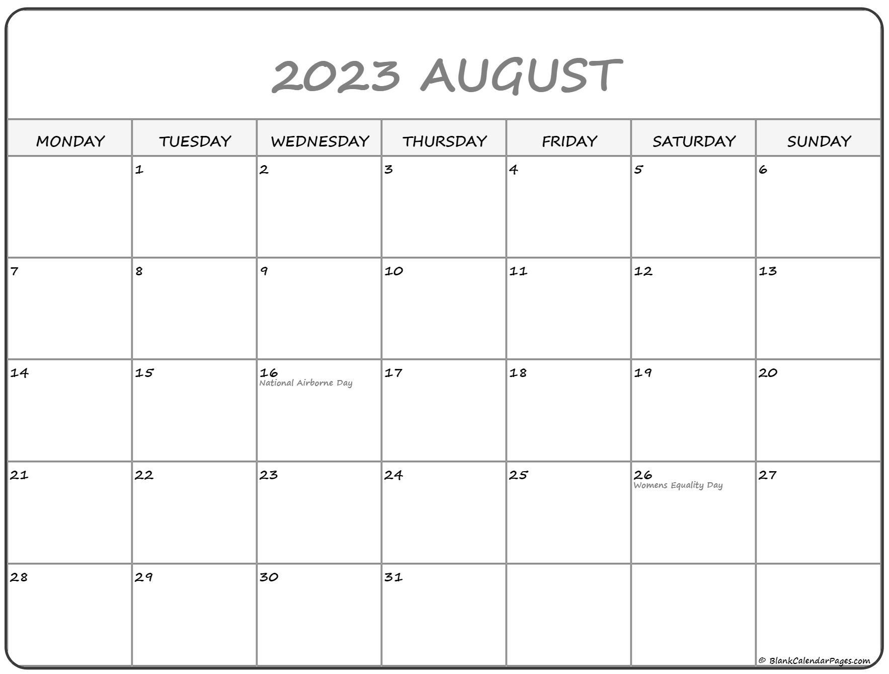 August 2022 Monday Calendar   Monday to Sunday