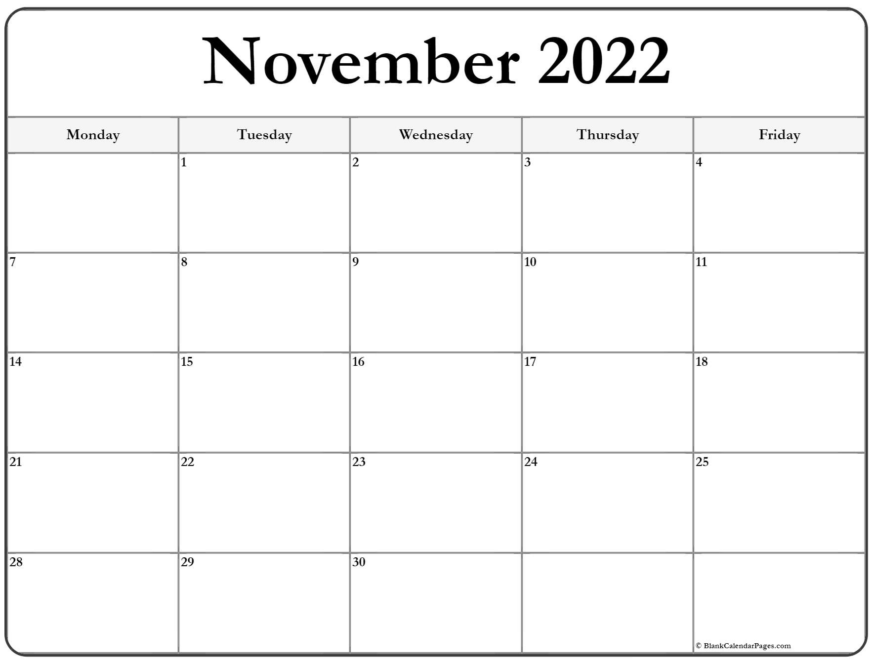 November 2022 Monday Calendar | Monday to Sunday