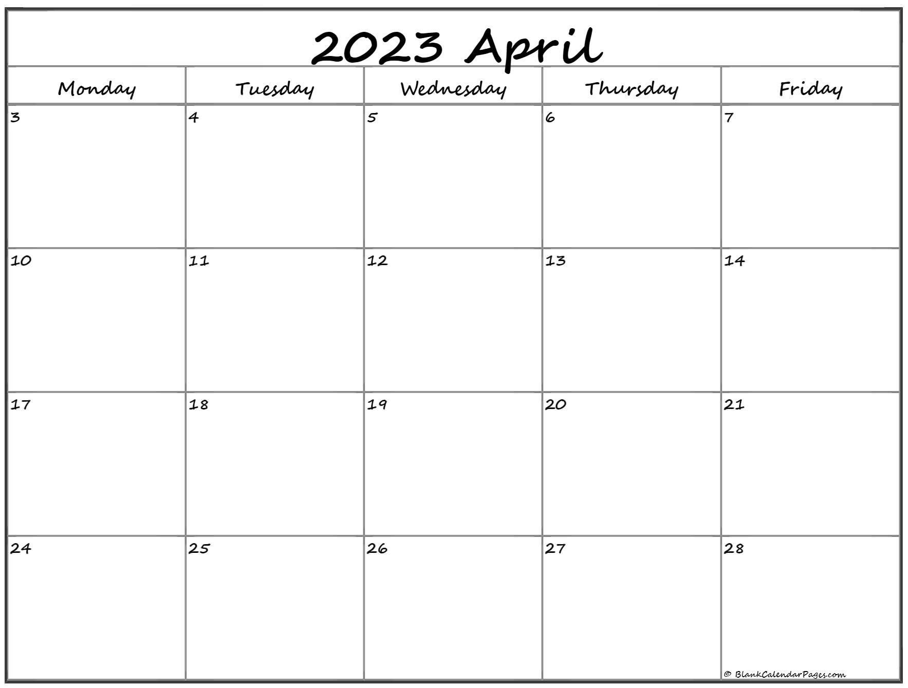 April 2022 Monday Calendar | Monday to Sunday