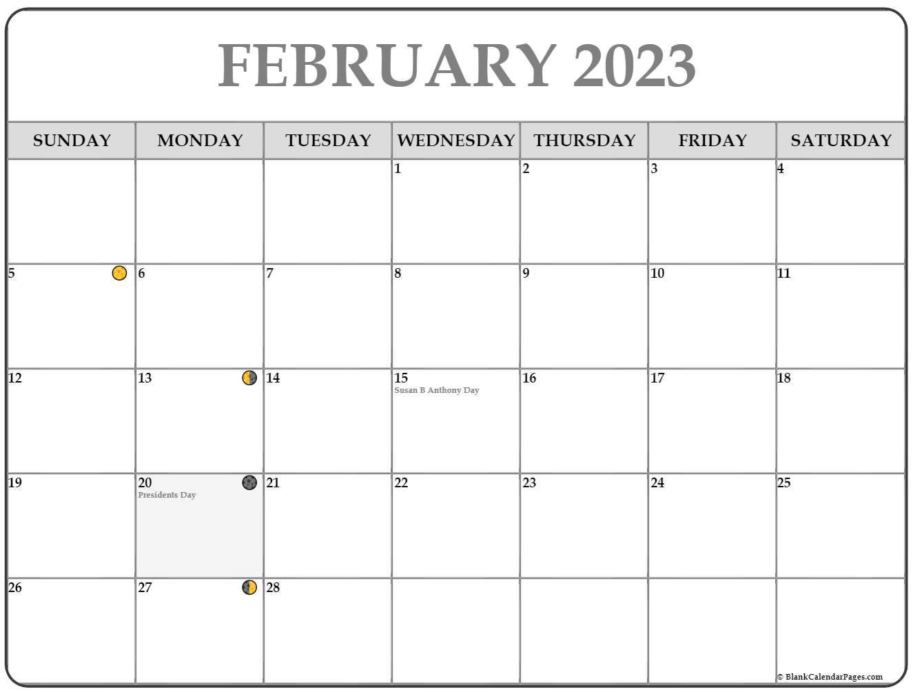 February 2022 Lunar Calendar | Moon Phase Calendar