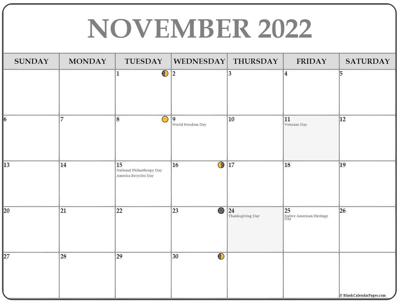 November 2022 Lunar Calendar   Moon Phase Calendar