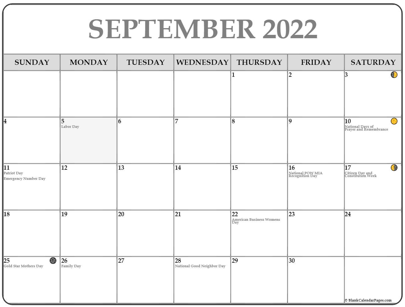 September 2022 Lunar Calendar | Moon Phase Calendar