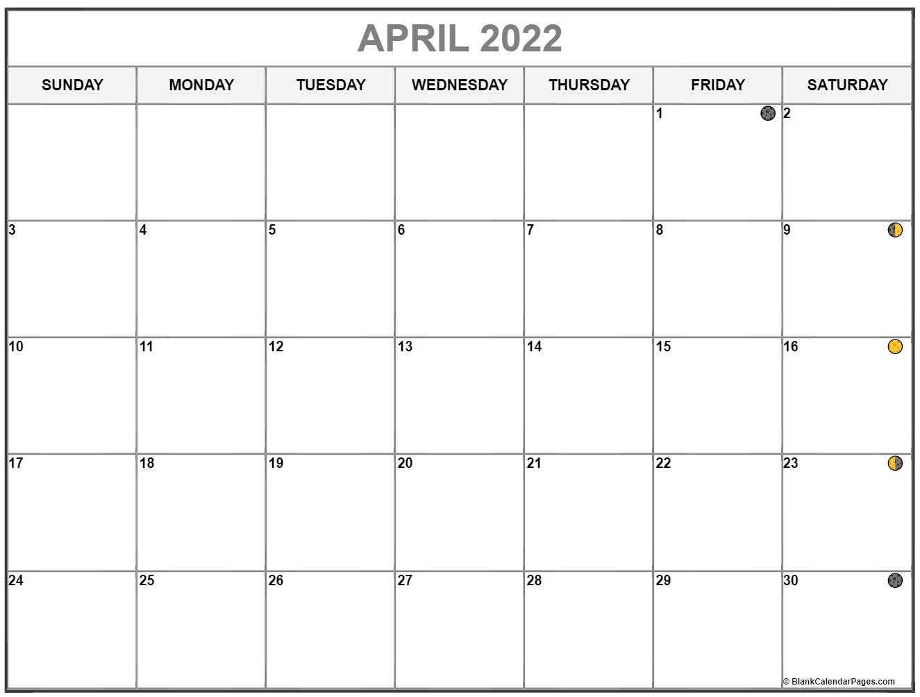 April 2022 Lunar Calendar | Moon Phase Calendar