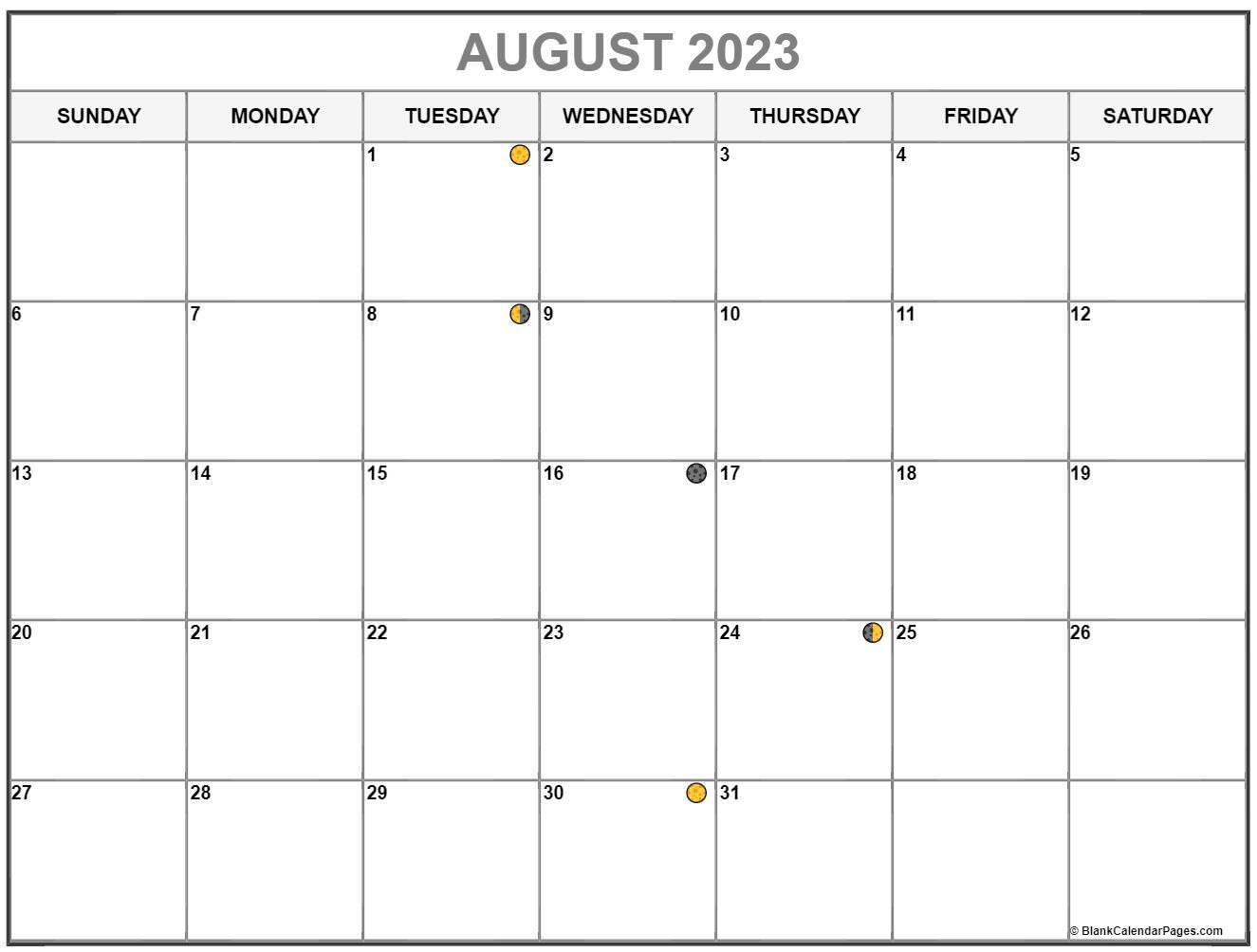 August Lunar Calendar