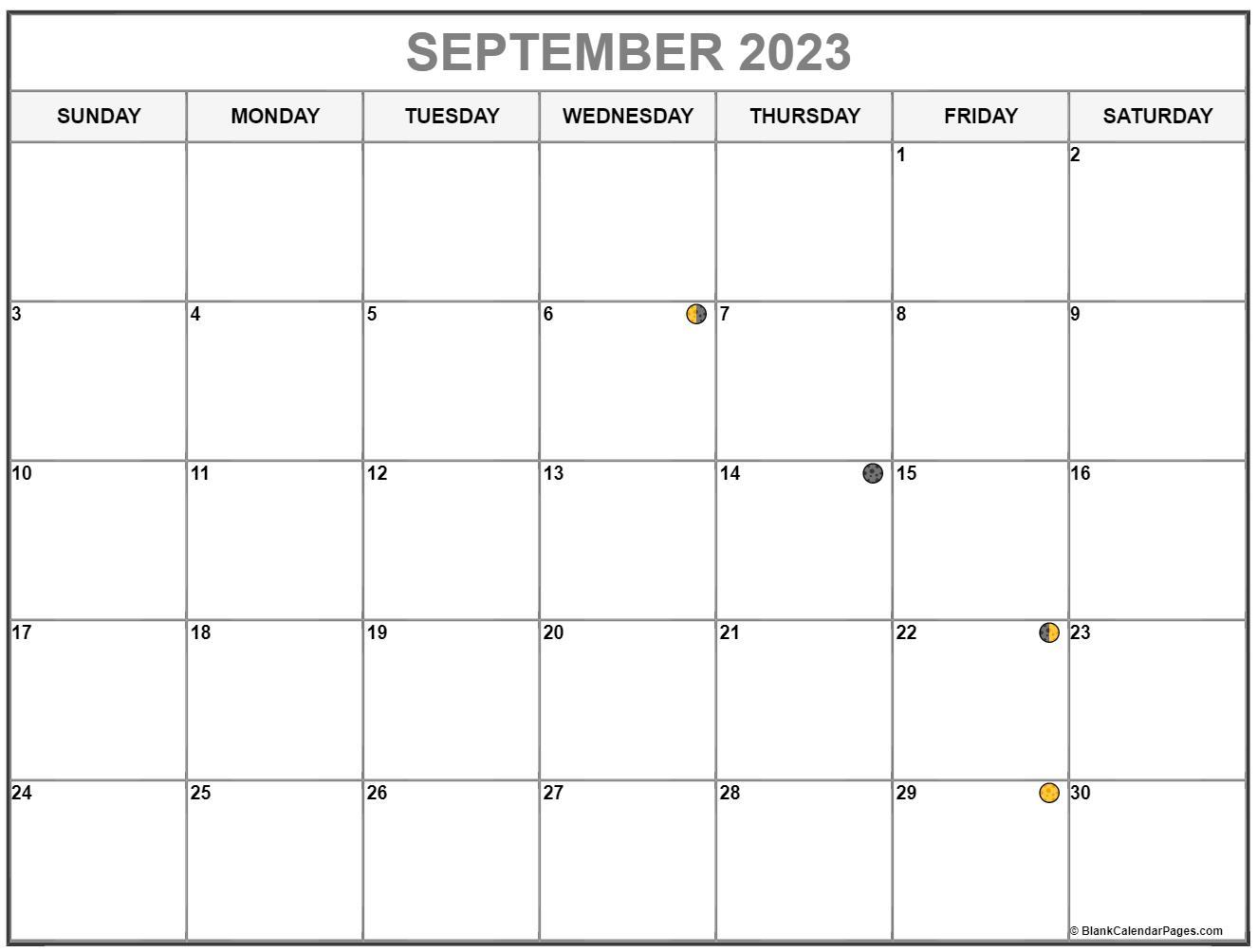 September 2022 Lunar Calendar | Moon Phase Calendar